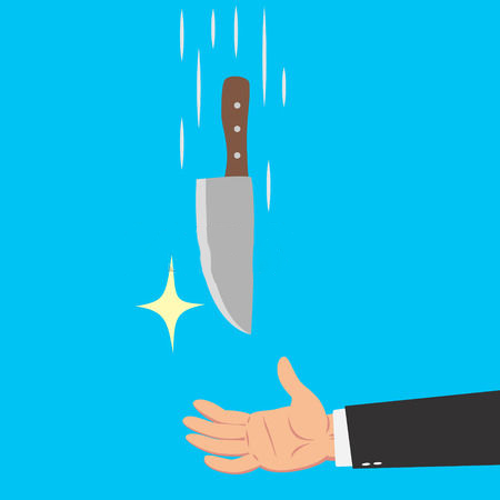 45930872-hands-of-businessman-catching-a-falling-knife-isolated-on-blue-background
